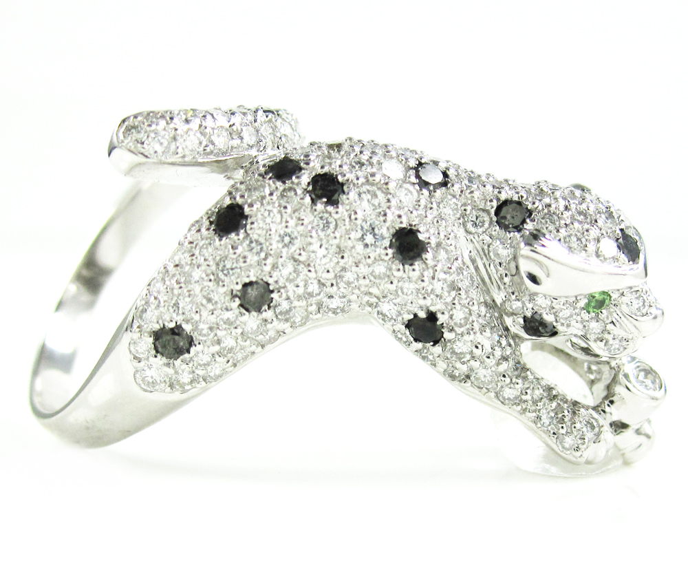 Ladies 14k white gold diamond panther ring 1.90ct