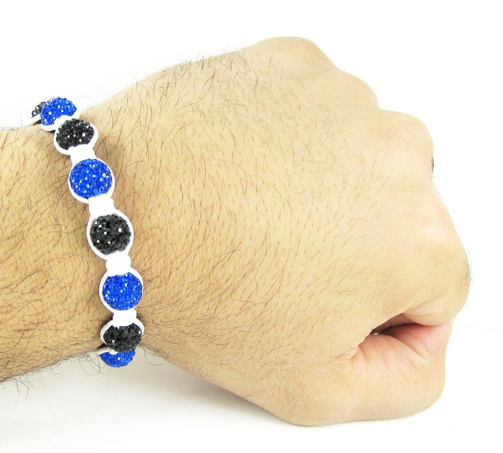 Blue & black rhinestone macramé faceted bead rope bracelet 9.00ct