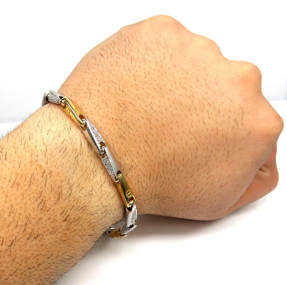 Mens 14k two tone gold bullet link diamond bracelet 1.20ct