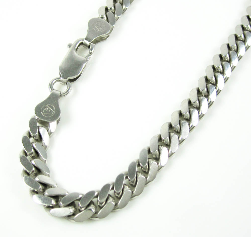 925 white sterling silver miami link bracelet 9 inch 6 mm