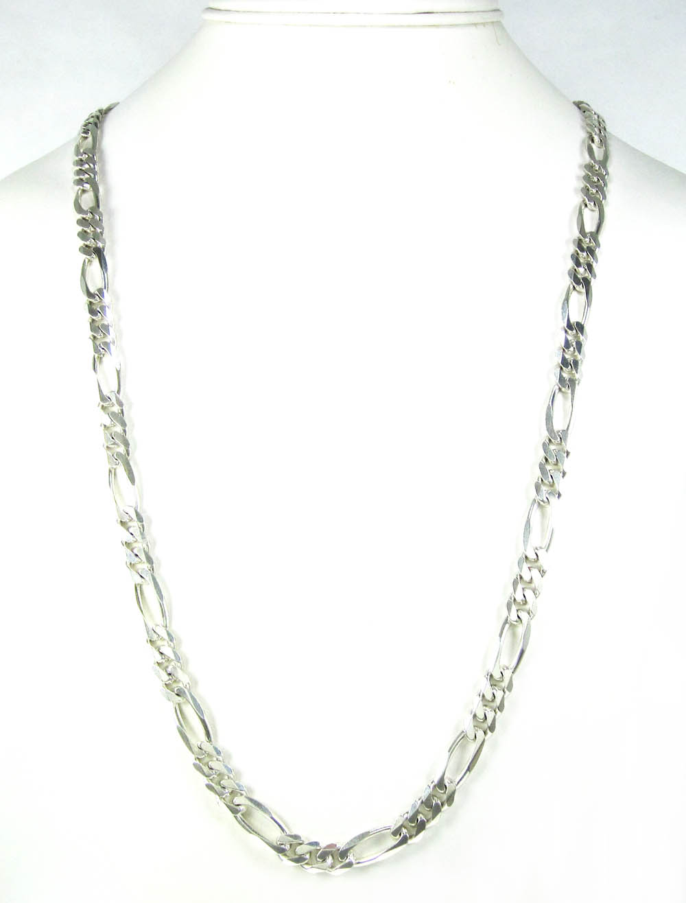 925 sterling silver figaro link chain 30 inch 7.40mm
