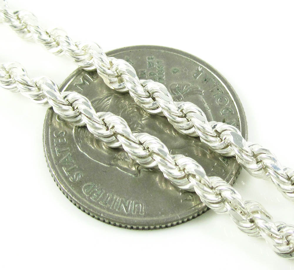925 white sterling silver rope link chain 24 inch 3.75mm