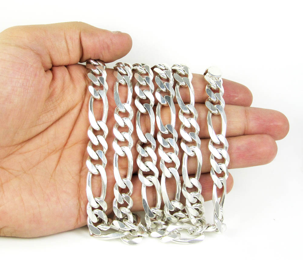 925 sterling silver figaro link chain 30 inch 11mm