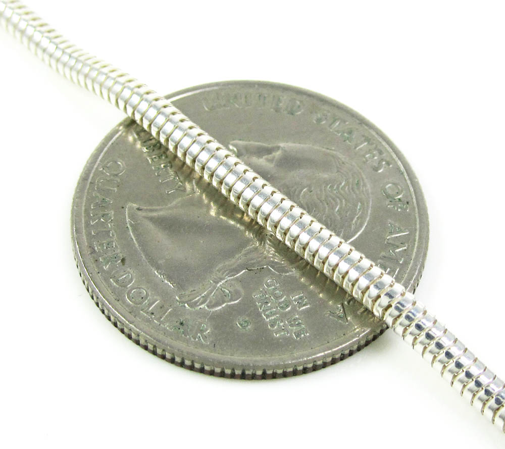 925 white sterling silver snake link chain 24 inch 2.40mm