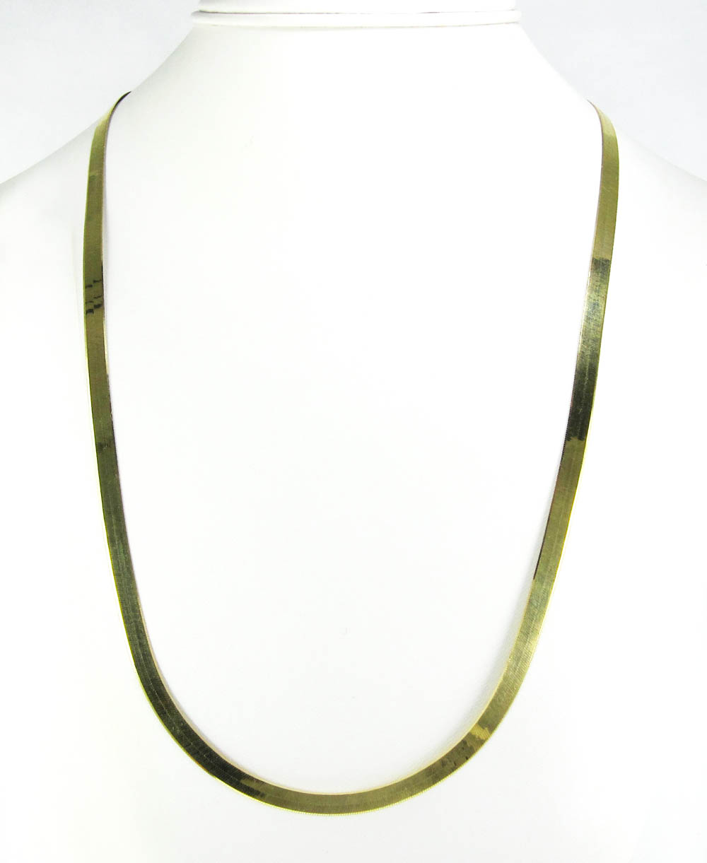 10K Yellow Gold Herringbone Chain 24 Inch 4 80mm