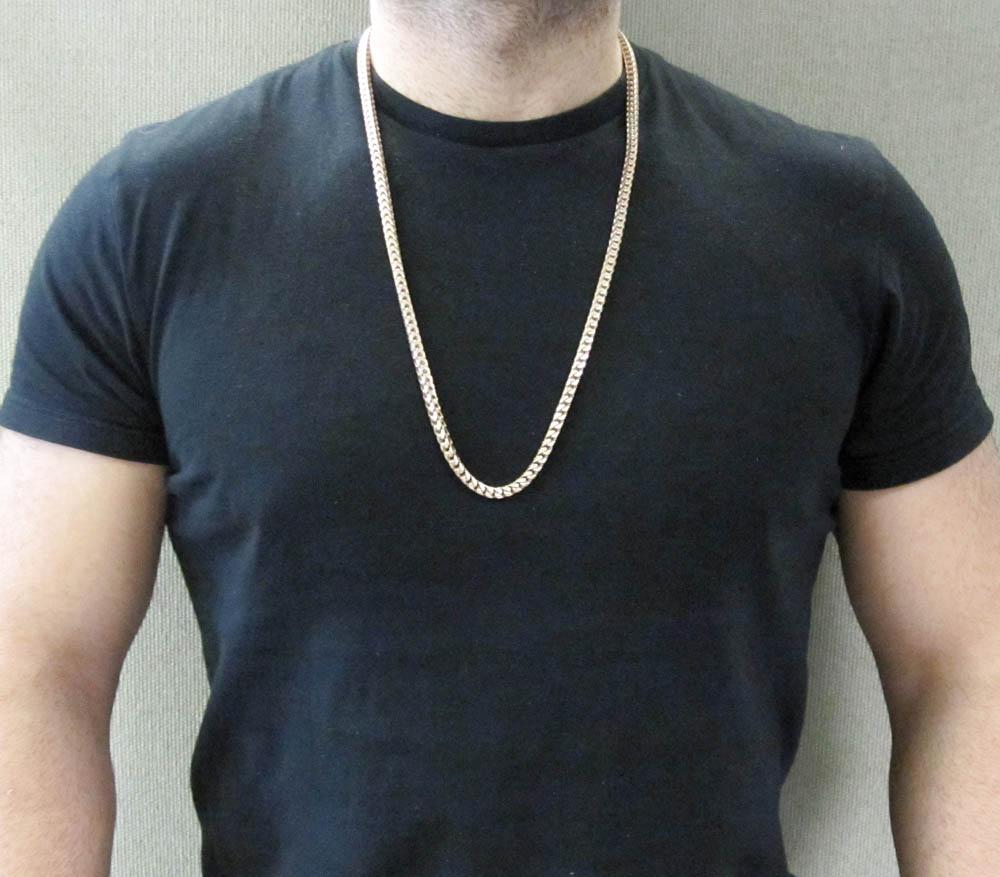 14k rose gold solid franco link chain 32 inch 6.35mm