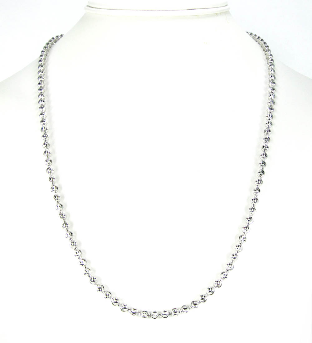 14k white gold diamond cut ball bead chain 22 inch 4mm