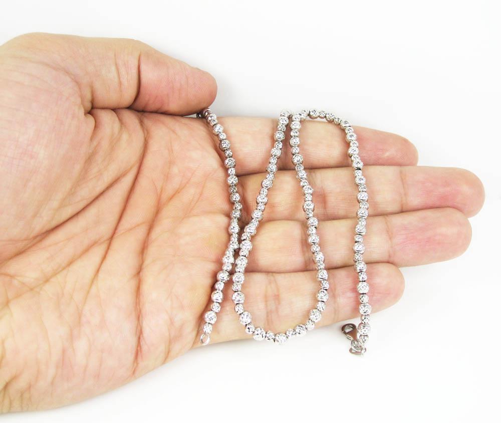 14k white gold diamond cut ball bead chain 20 inch 4mm