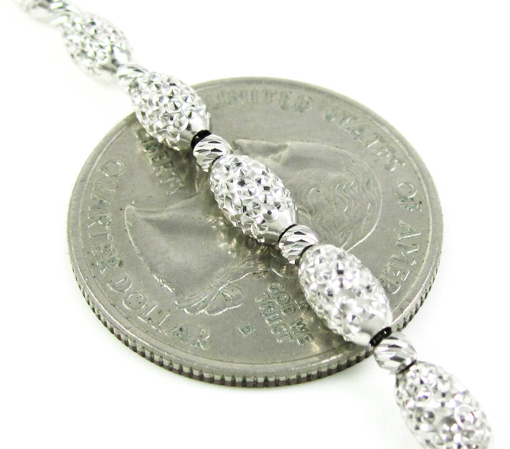 14k white gold diamond cut oval bead chain 24 inch 4mm