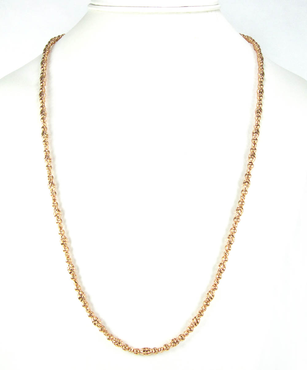 14k gold diamond cut oval bead chain 30 inch 4mm