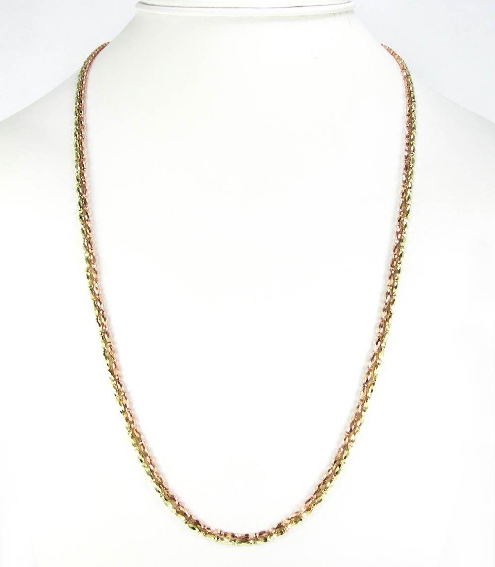 14k gold diamond cut oval bead chain 30 inch 1.85mm
