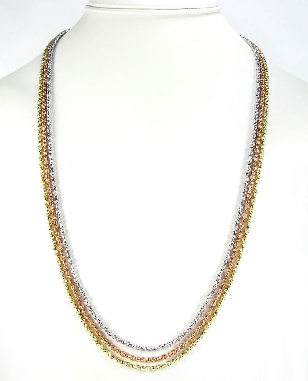 14k gold diamond cut ball bead chain 30 inch 2.75mm
