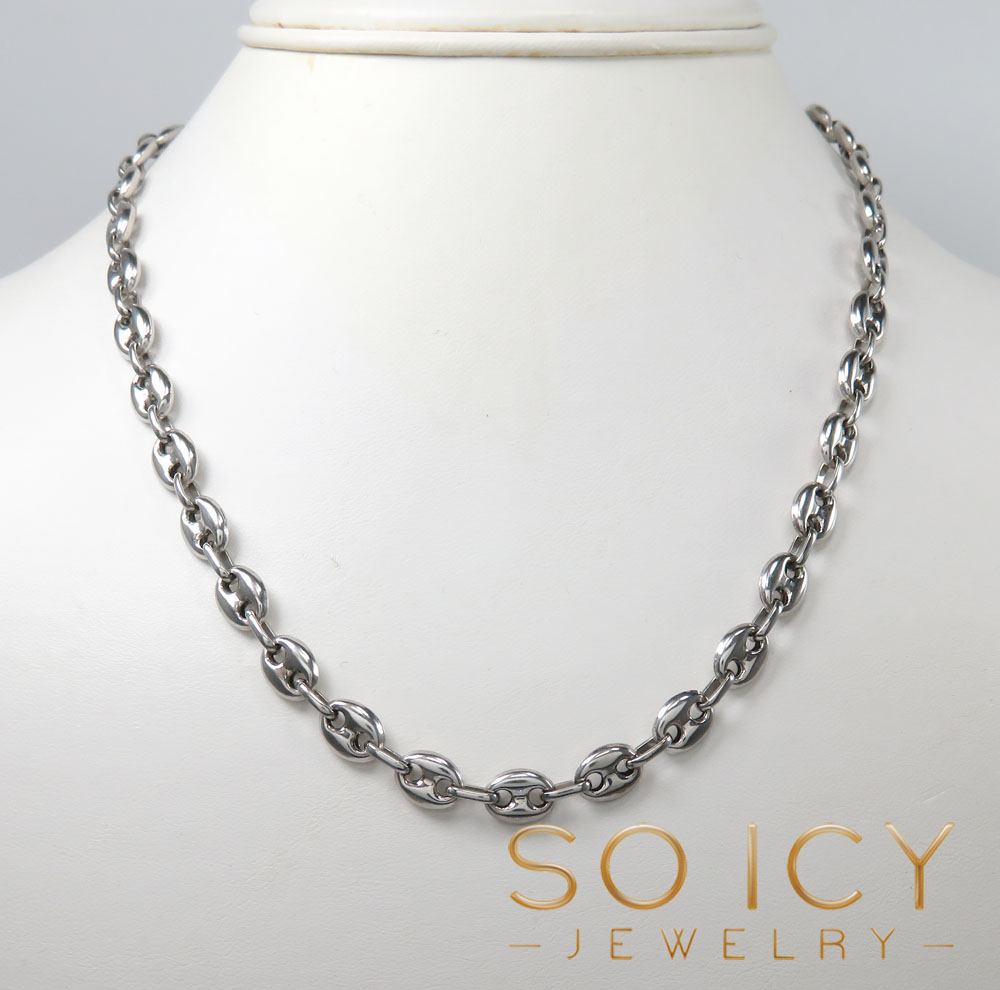 14k white gold gucci link chain 28 inch 7mm