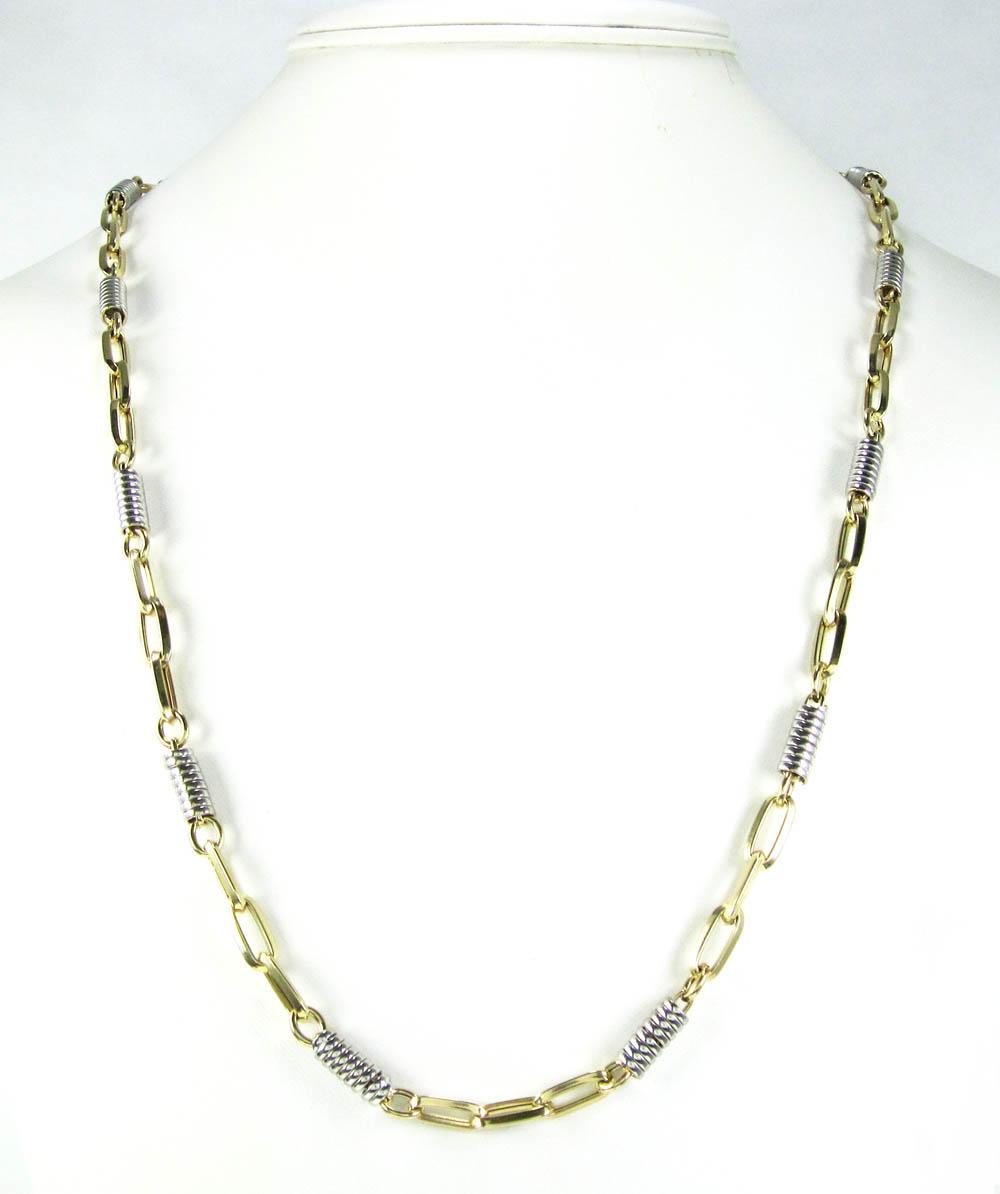 14k two tone gold fancy link chain 30 inch 5.25mm