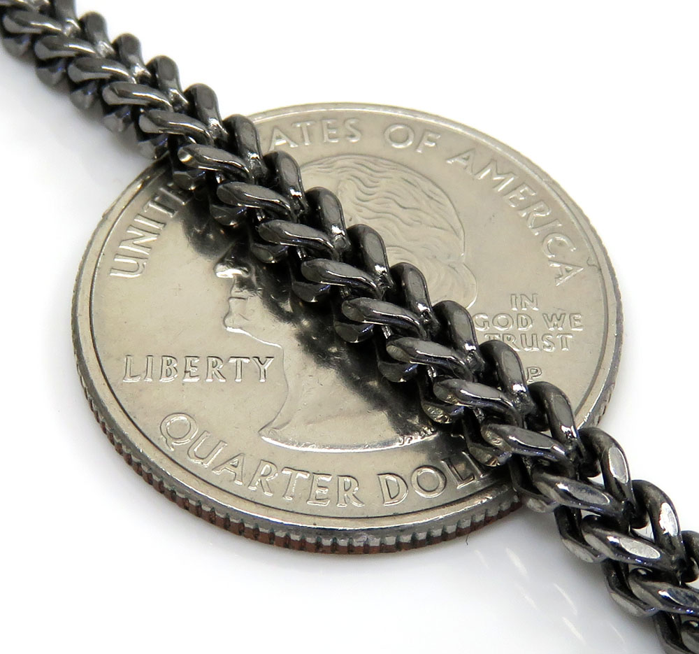 10k black gold franco link chain 26-30 inch 3.50mm