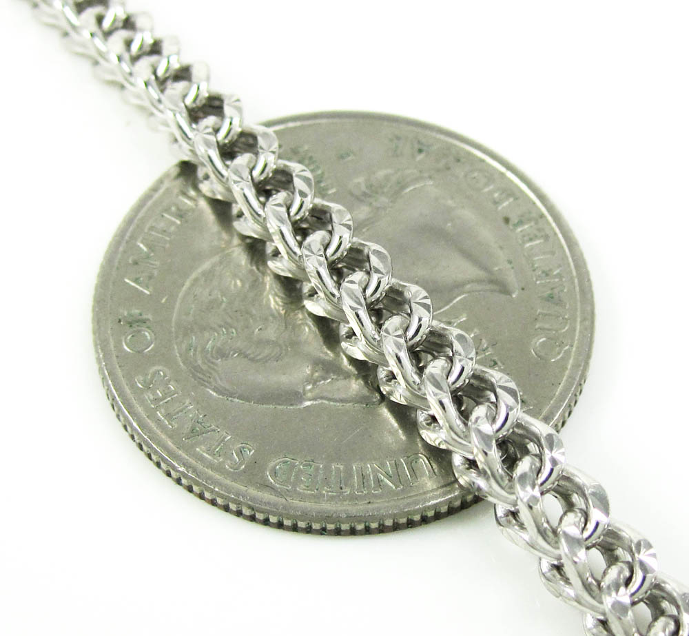 10k white gold diamond cut franco link chain 26-30 inch 3.7mm