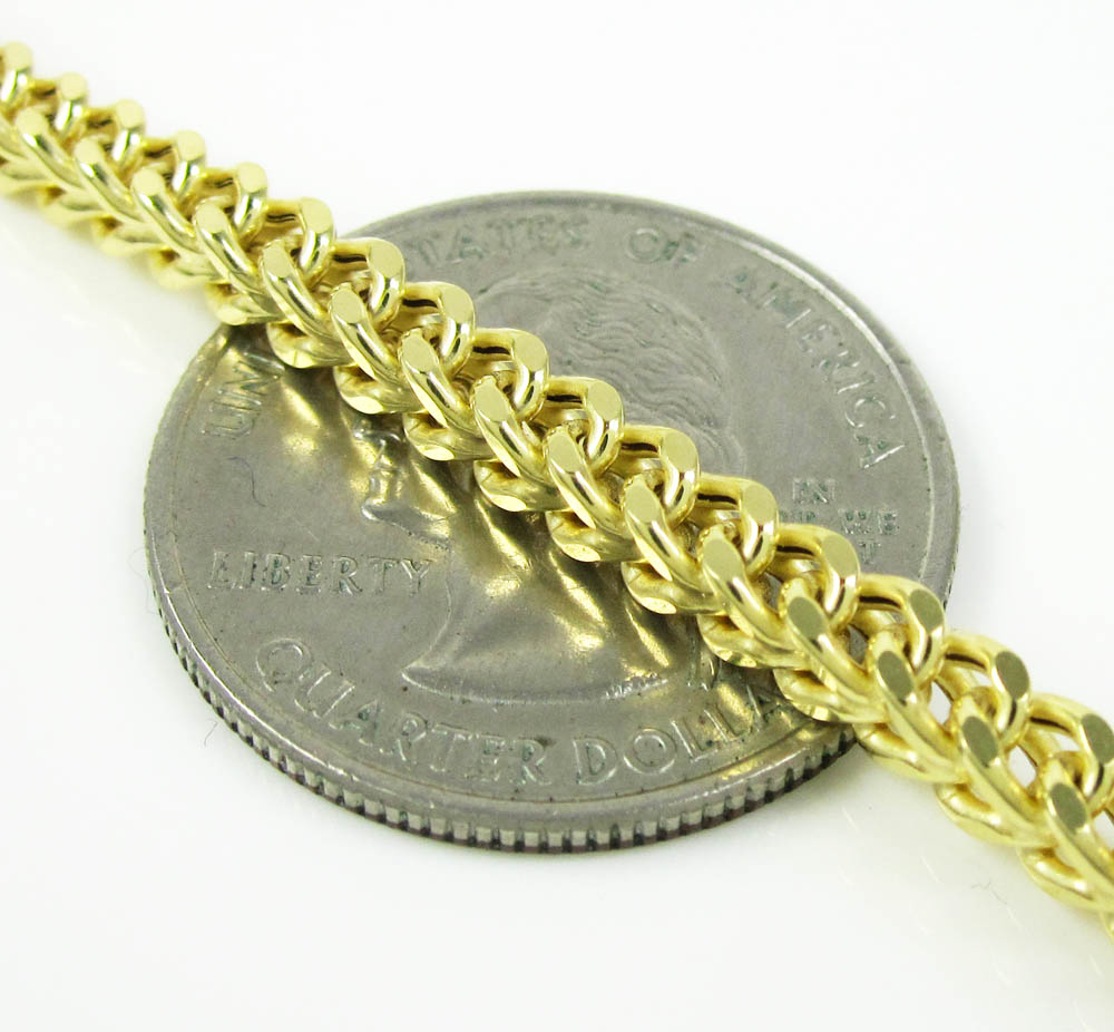 10k yellow gold smooth cut franco link chain 20-30 inch 3.50mm