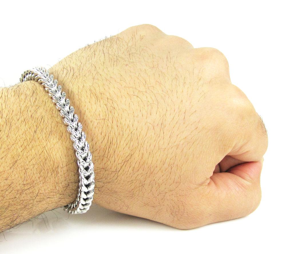 10k white gold diamond cut franco bracelet 8 1/2 inch 6mm