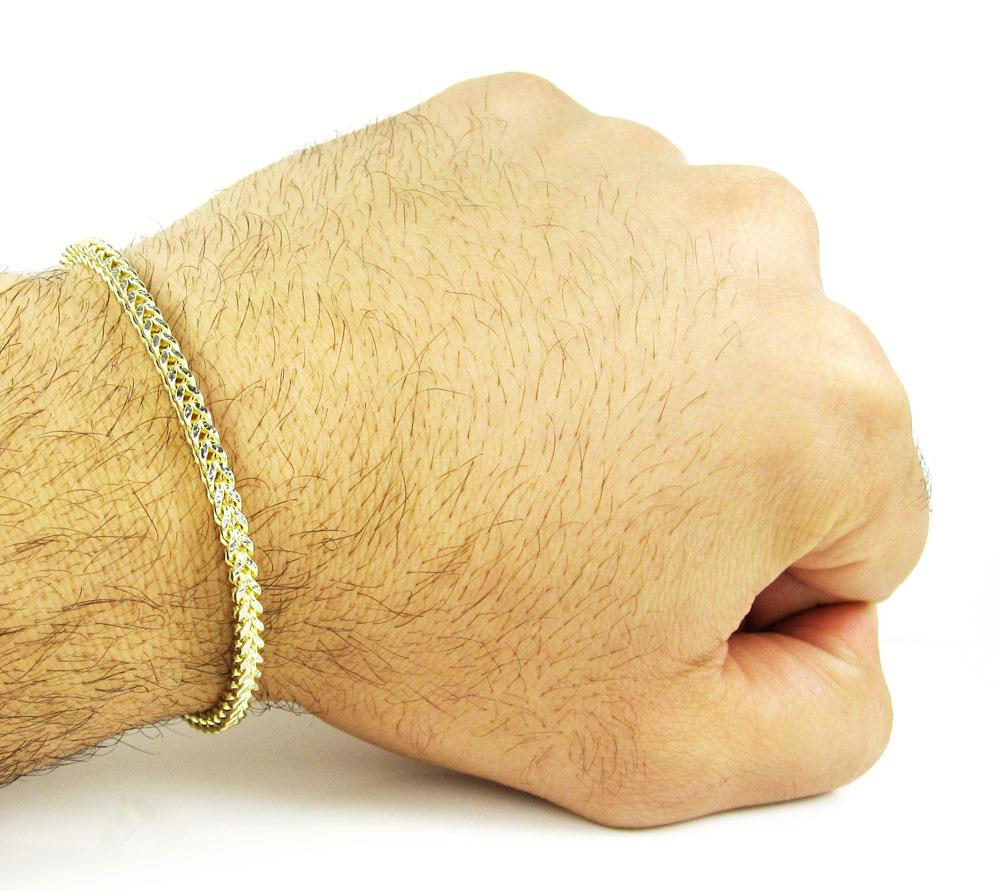 10k yellow gold diamond cut franco bracelet 8 inch 3.4mm