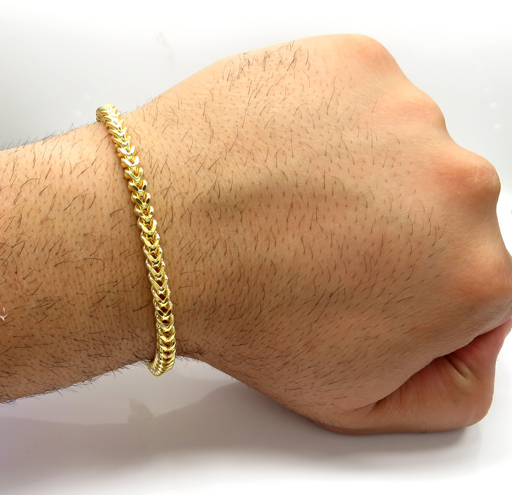 10k yellow gold smooth cut franco bracelet 8.50 inch 4.5mm