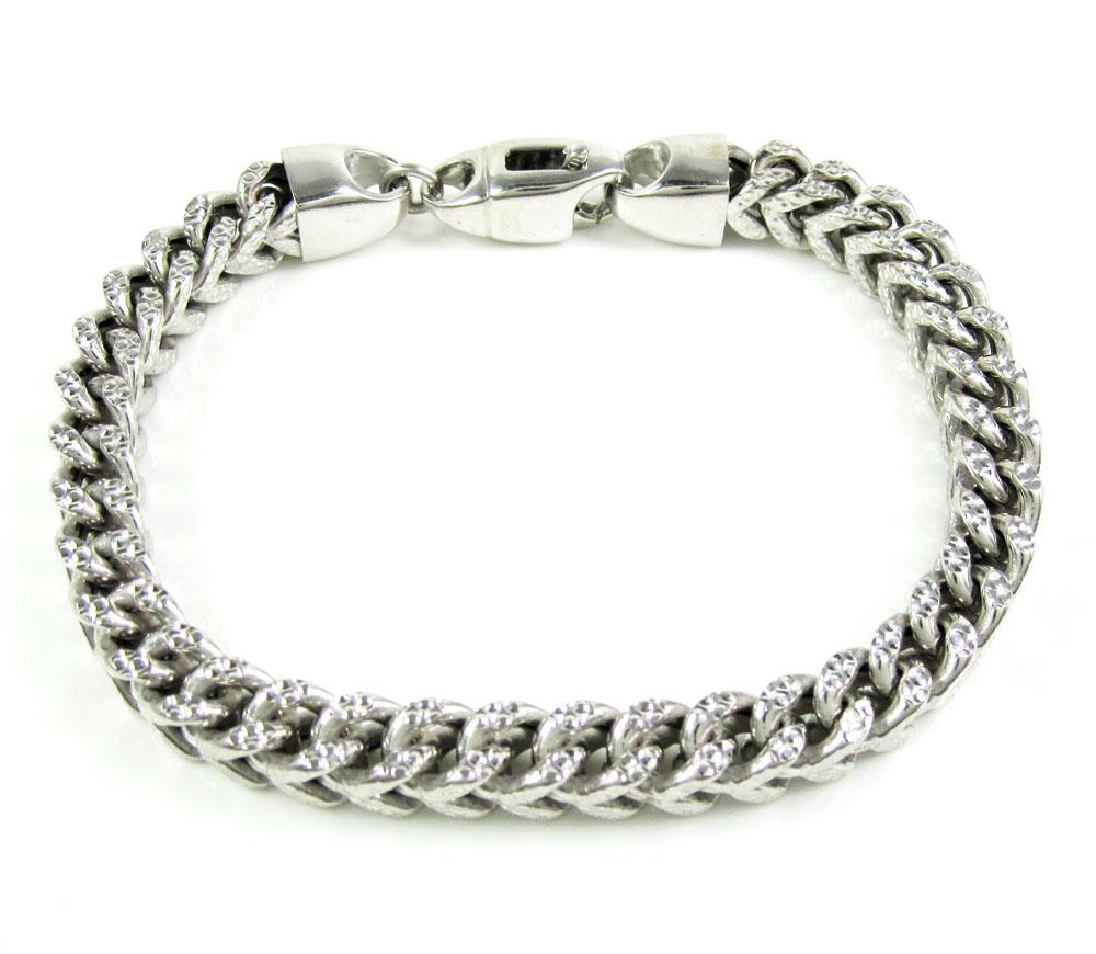 10k white gold diamond cut franco bracelet 9 inch 6.9mm