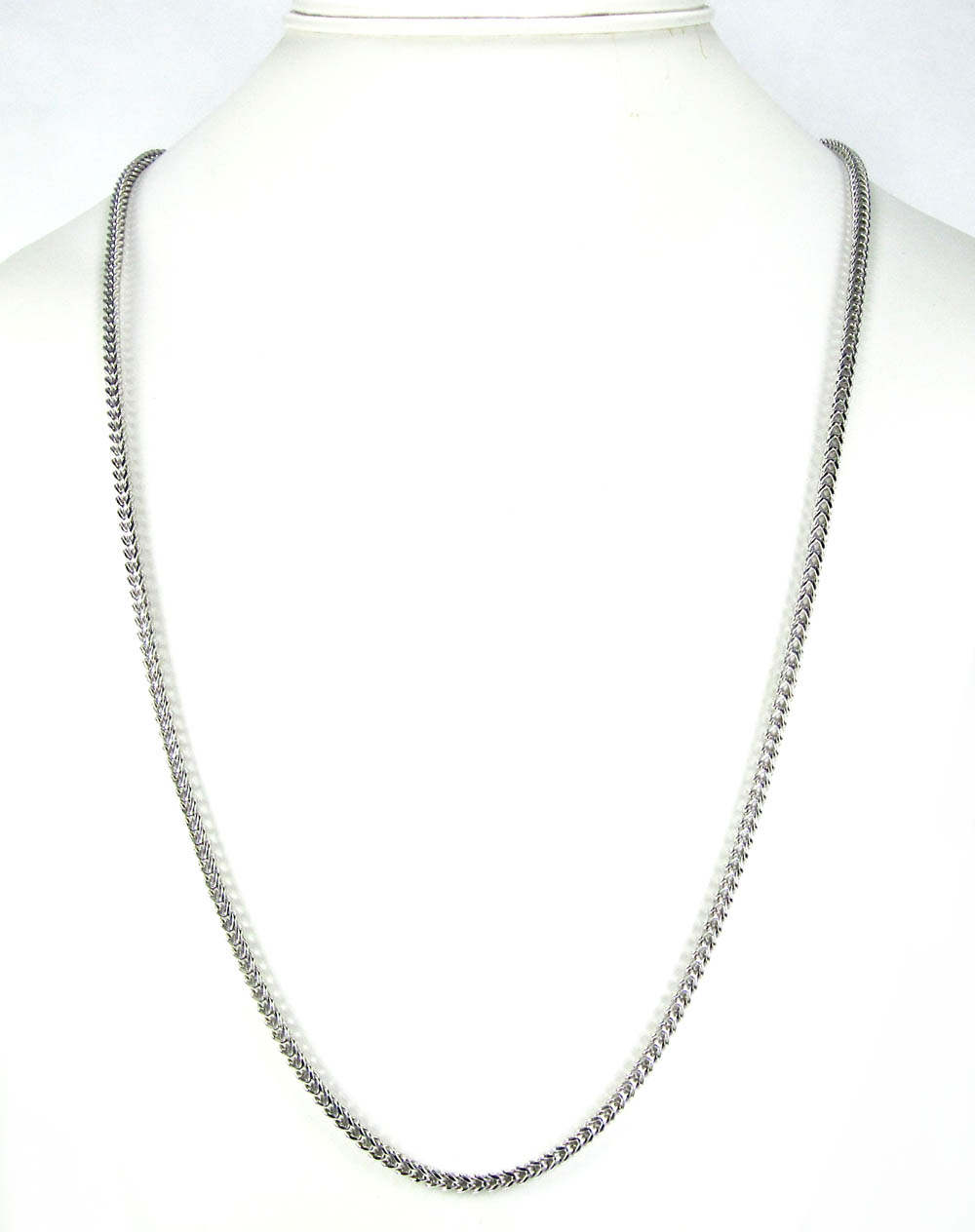 14k white gold smooth cut franco link chain 22-34 inch 3mm