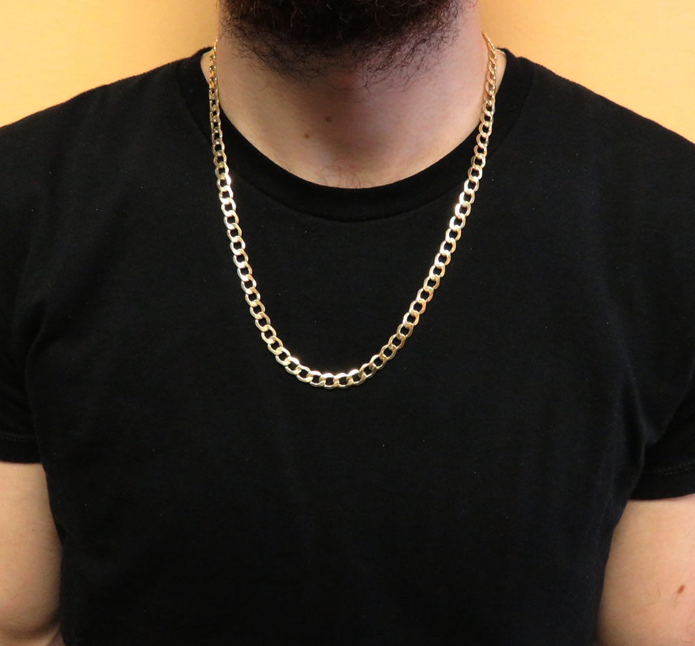 Yellow Gold hollow Cuban Link Chain 20-30 Inch 7.5mm