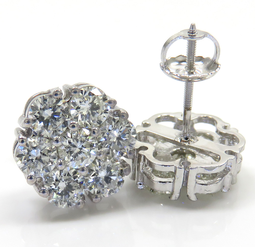 14k gold round large diamond large cluster earrings 2.90ct