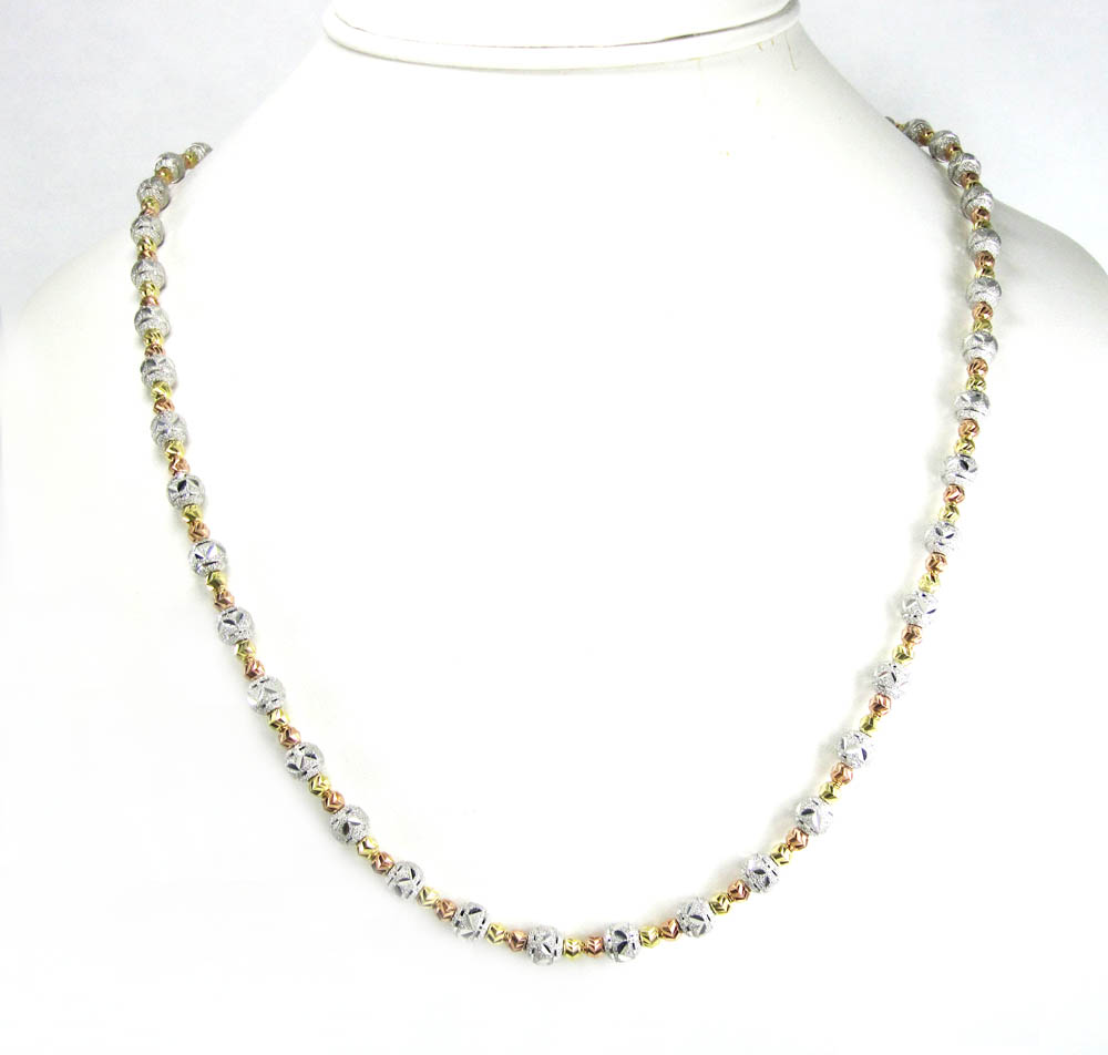 925 tri color silver diamond cut bead chain 24 inch 6mm