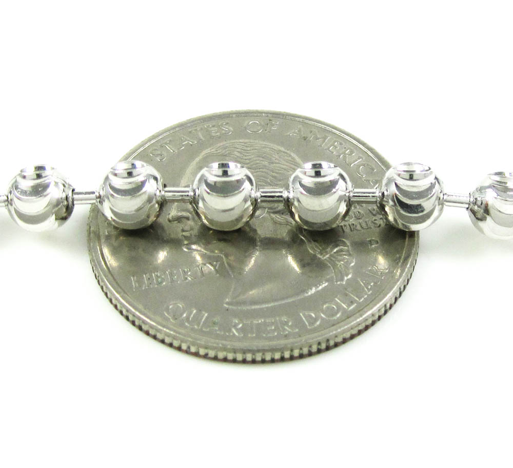 925 white sterling silver diamond cut bead chain 30 inch 5mm