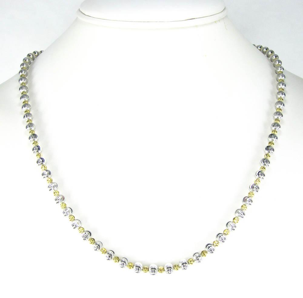 925 Two Tone Silver Diamond Cut Bead Chain 24 30 Inch 5mm