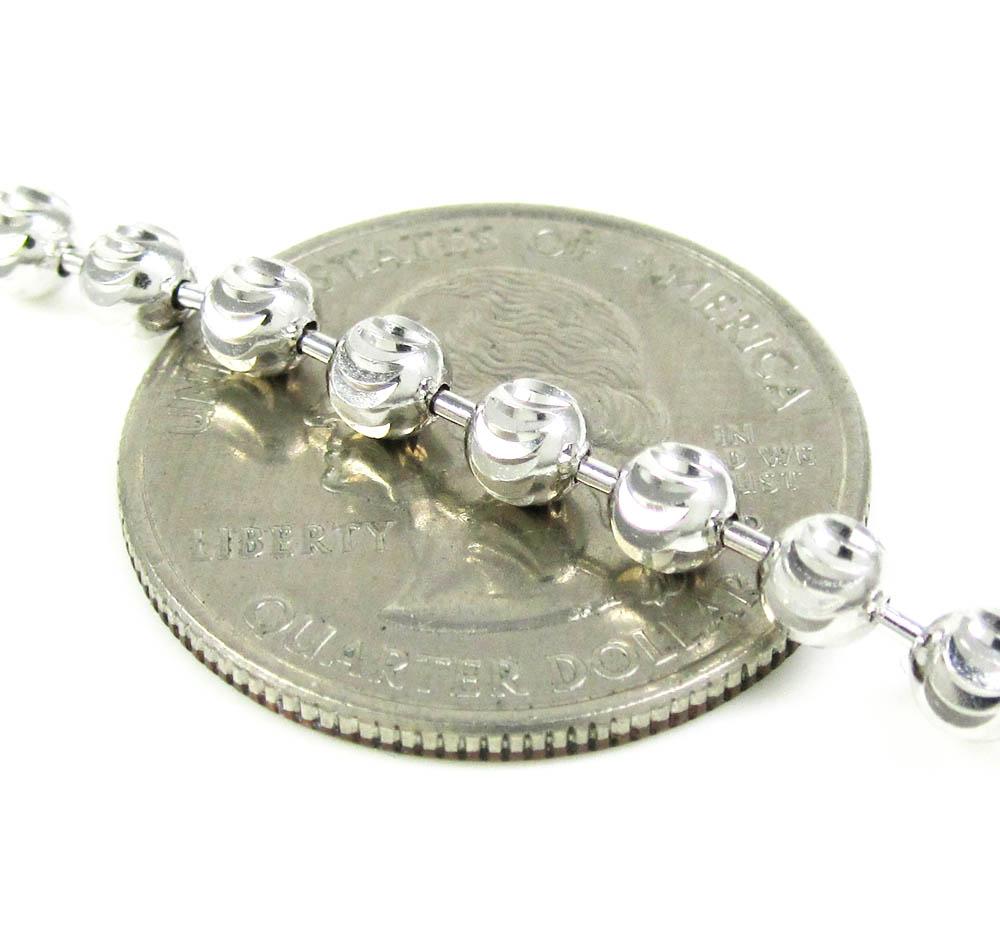 925 White Sterling Silver Diamond Cut Bead Chain 30 Inch 4mm