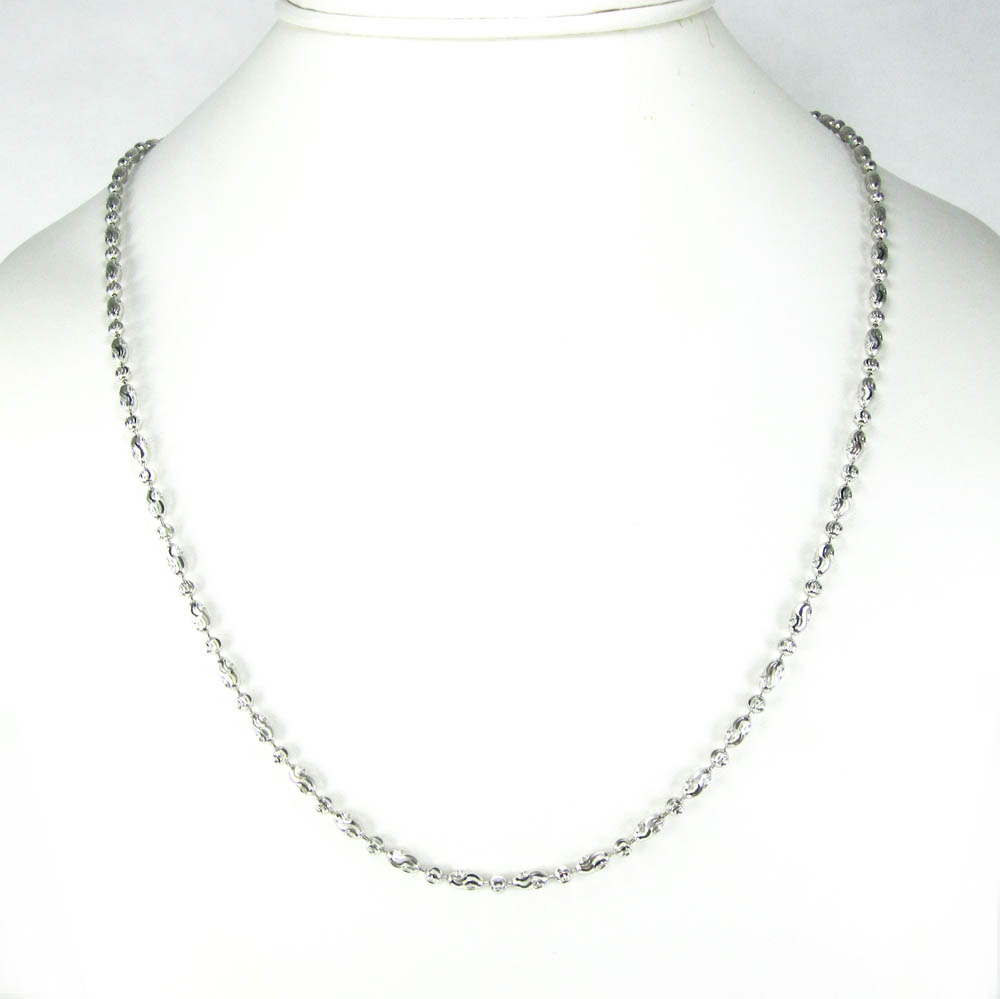 925 white sterling silver diamond cut bead chain 24 inch 3mm