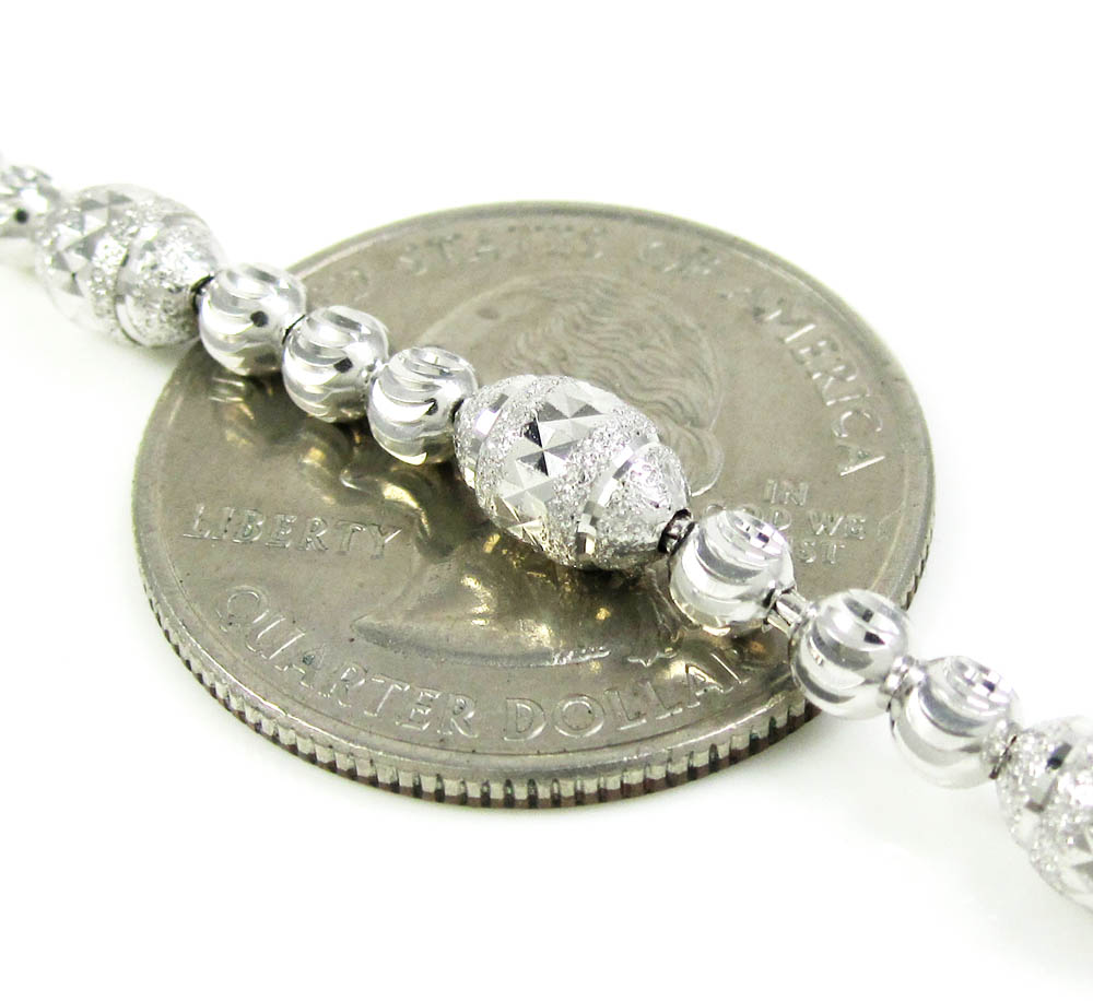 925 white sterling silver diamond cut bead chain 22 inch 5mm
