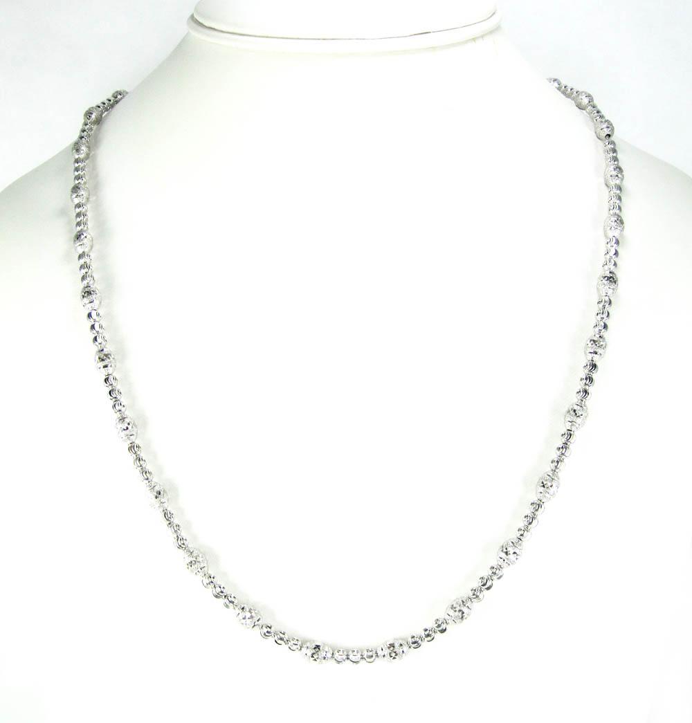925 White Sterling Silver Diamond Cut Bead Chain 22 Inch 5mm