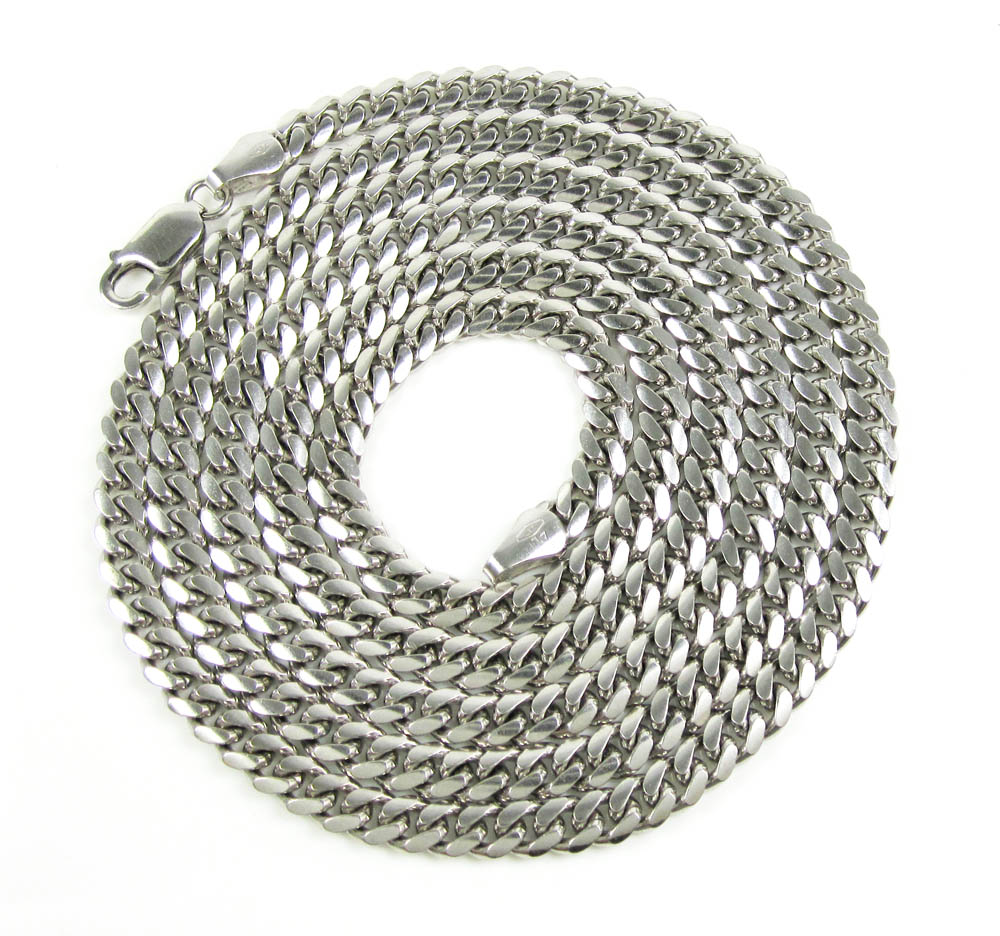 10k white gold miami link chain 22-26 inch 5.40mm