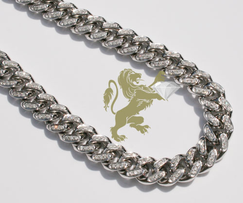 12.00ct 10k white gold diamond miami link 10mm chain 20-26