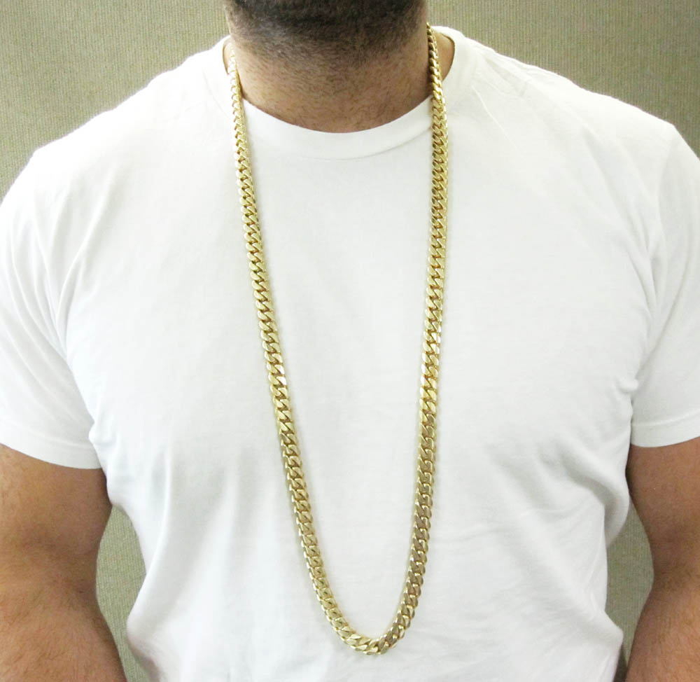 10k yellow gold thick miami link chain 20-40 inch 10.5mm