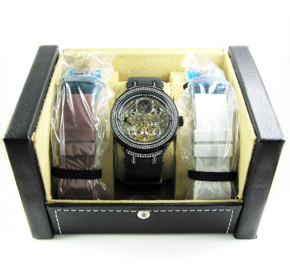 Joe rodeo master black automatic diamond watch 2.20ct