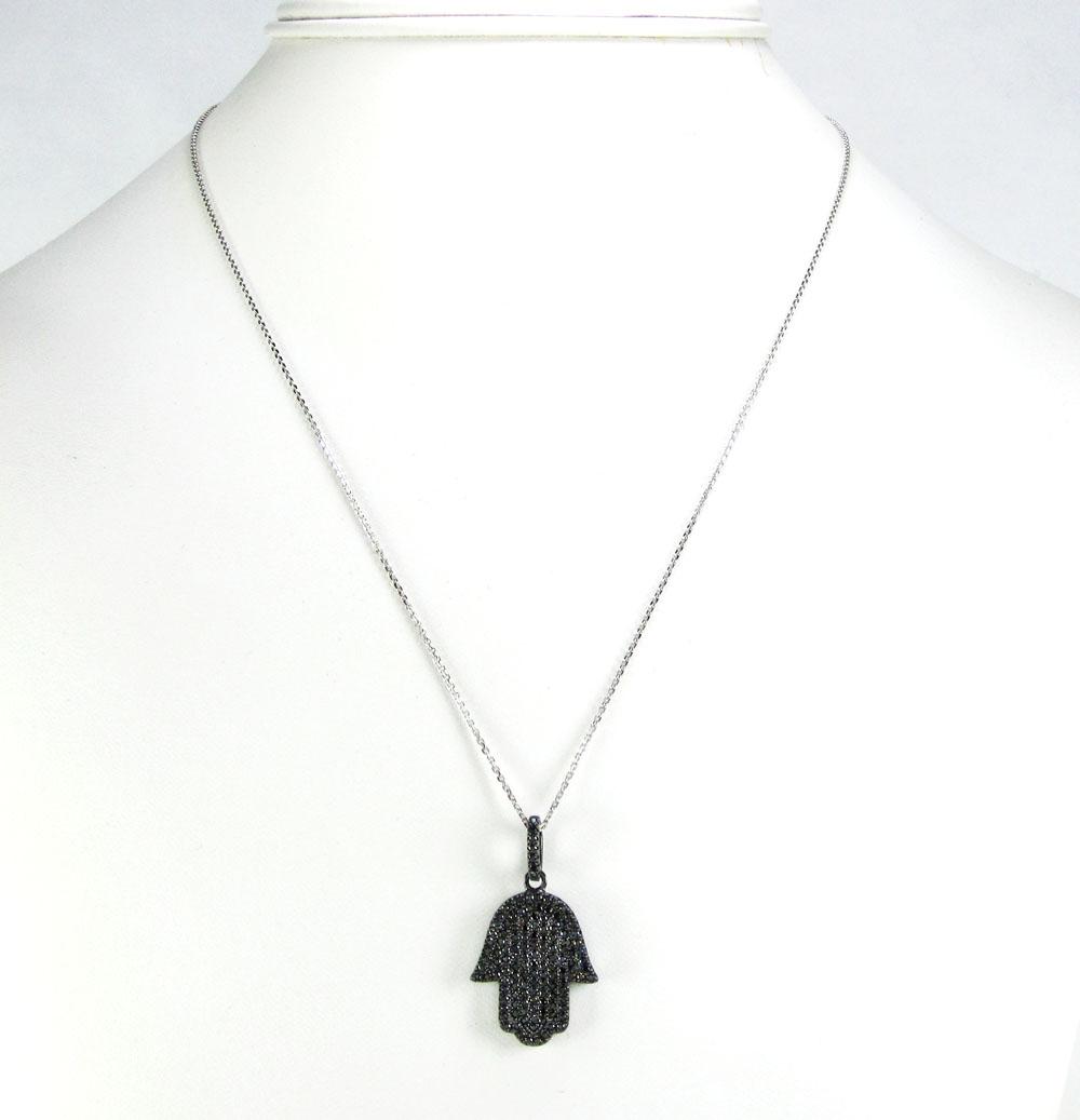 Sterling silver black cz hamsa pendant 1.00ct