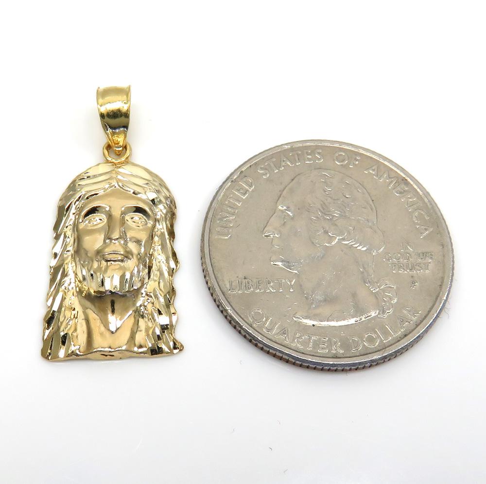 10k yellow or two tone gold diamond cut small jesus face pendant
