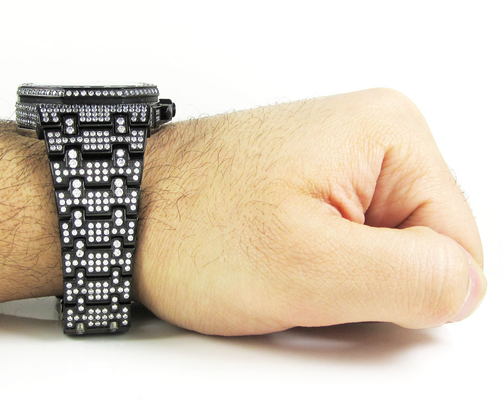 Jojino black steel iced out cz watch 20.00ct