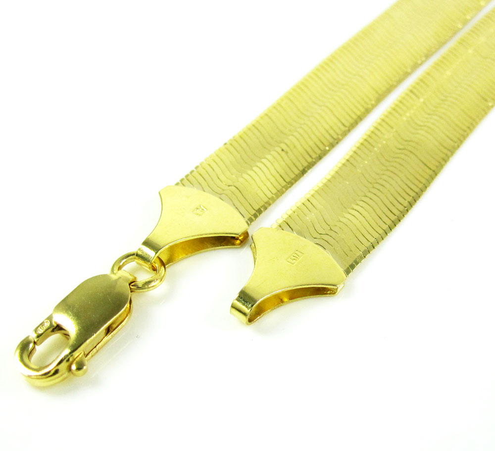 10k yellow gold herringbone chain 24 inch 7.75mm