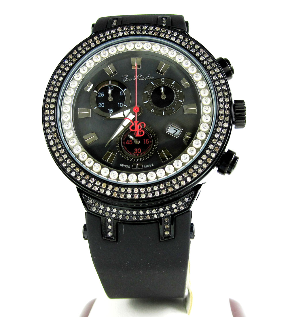 Mens joe rodeo black stainless steel diamond master watch 2.20ct jjm85
