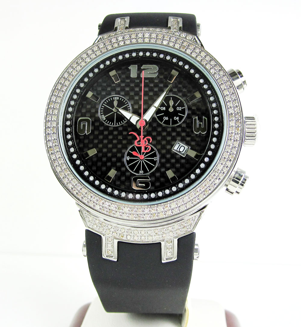 Mens joe rodeo white stainless steel diamond master watch 2.20ct jjm92