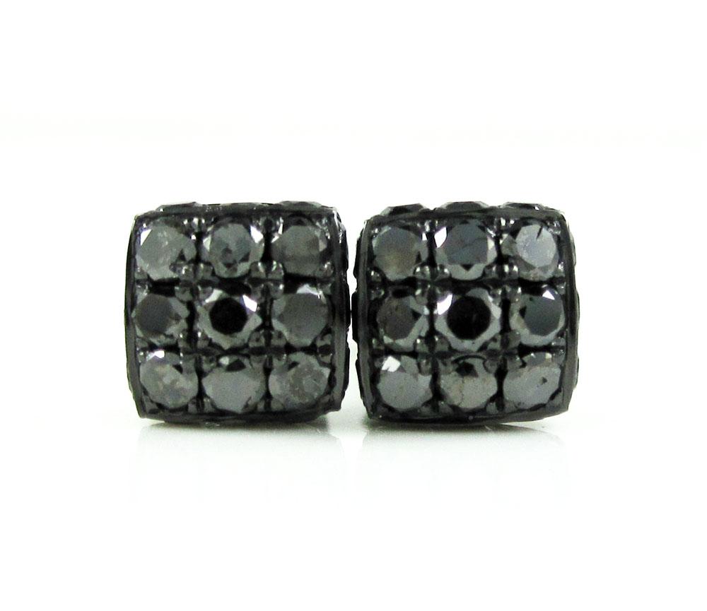 Mens 10k black gold black diamond 3d ice cube earrings 1.35ct