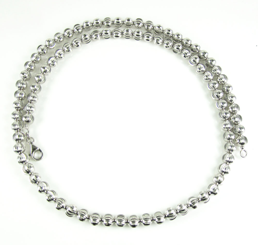14k white gold moon cut bead chain 20-22 inch 6mm