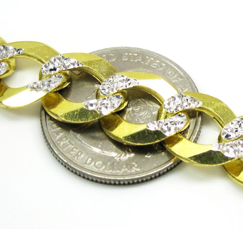 10k yellow gold diamond cut cuban chain 24-36 inch 12.5mm
