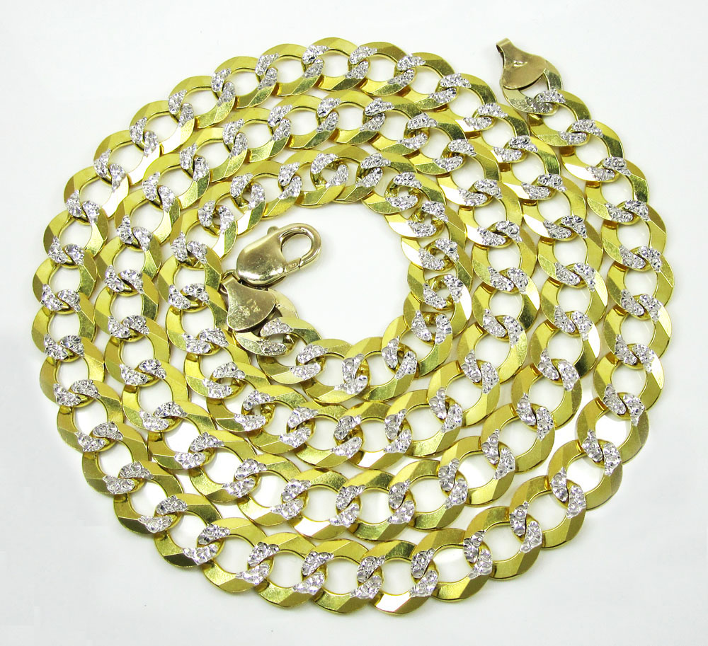 10k yellow gold diamond cut cuban chain 24-30 inch 11.5mm