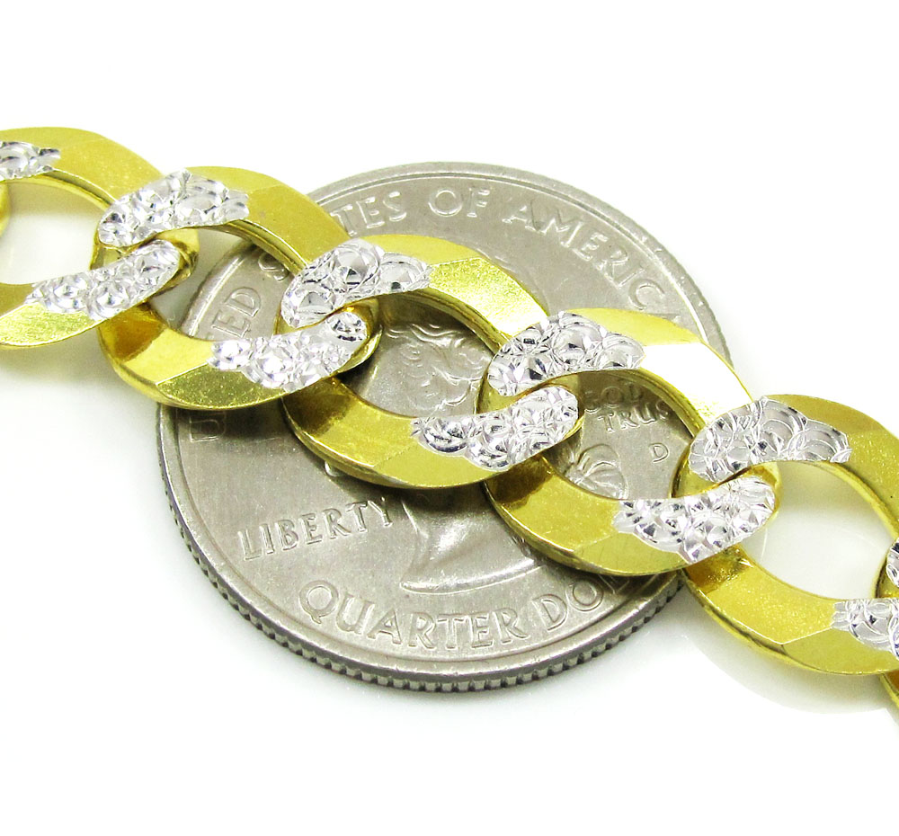 10k yellow gold diamond cut cuban chain 24-30 inch 11.5mm